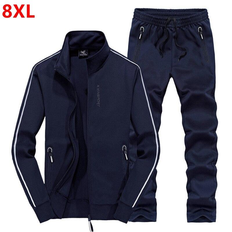 Automne plus engrais XL pull ensemble 8XL hommes ensembles stretch décontracté plein air sports-costume