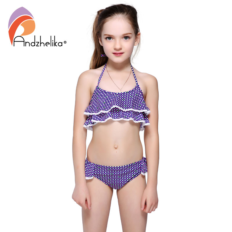 Andzhelika Bikini Children Swimsuit Cute Heart Bikini Set Girls Swimsuit Beach Kids Swimwear Child Sports Bathing Suit AKZS56 cute kids girls swimwear two pieces child swimsuit ruffle children bikini baby girl beach wear with cap shop bb55