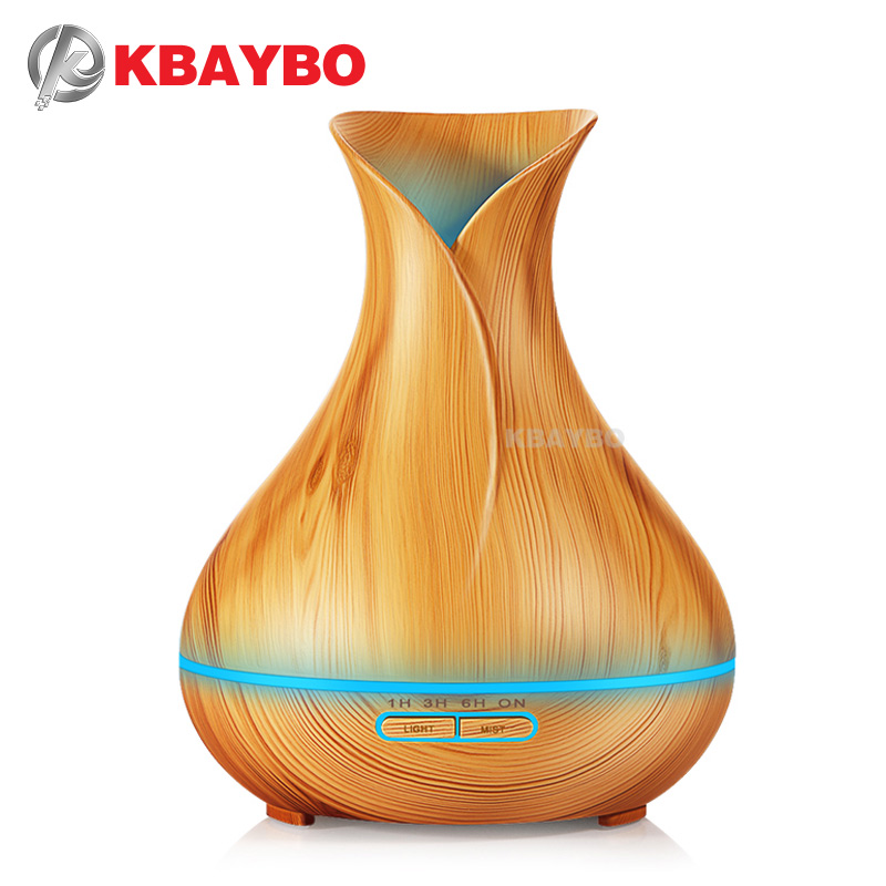 KBAYBO Aroma Essential Oil Diffuser Ultrasonic Air Humidifier with Wood Grain 7 Color Changing LED Lights for Office Home kbaybo aroma essential oil diffuser ultrasonic air humidifier with wood grain electric led lights aroma diffuser for home