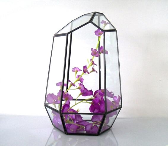 Flower Pots Handmade Home Decoration Planter Pots Brass Frame Geometric Glass Terrarium