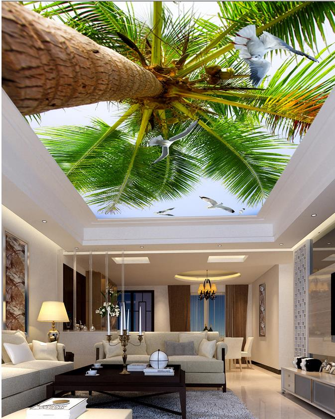 Beach Tree Sky Ceiling Living Room Bedroom 3d Wallpaper