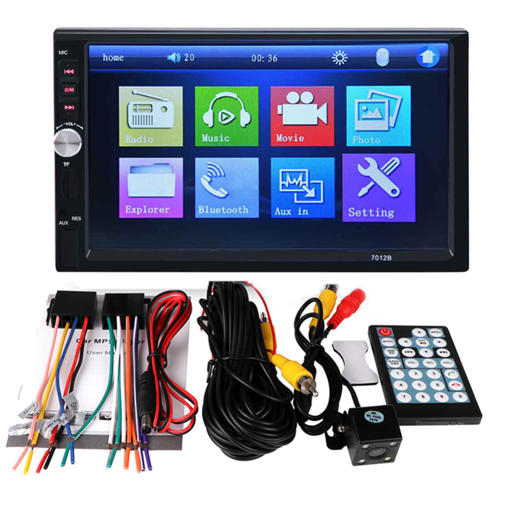 7012B+Rear Camera 7 Inch Bluetooth TFT Screen Car Audio Stereo MP5 Player 12V Auto 2-Din Support AUX FM USB SD MMC JPEG,WMA,MP4 7 inch bluetooth tft screen auto car radio mp5 player stereo 12v 2 din support audio video mp4 mp3 aux fm usb sd mmc remote