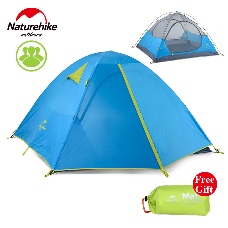 Naturehike family Tent Outdoor hiking travel 2/3 Person Double Open Camping Tent Double-layer Aluminum Pole waterproof Tent mobi outdoor camping equipment hiking waterproof tents high quality wigwam double layer big camping tent