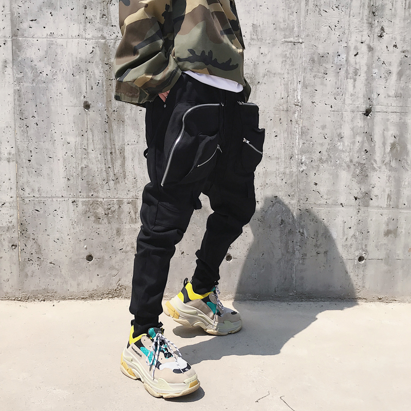 Male Dark Black High Street Harem Pants Joggers Trousers Sweatpants Men Multi-pocket Zipper Hiphop Dancing Cargo Pant