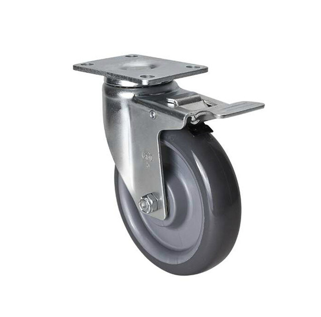 Casters 5 inch 150Kg medium-sized flat brake polyurethane (PU) caster KF491