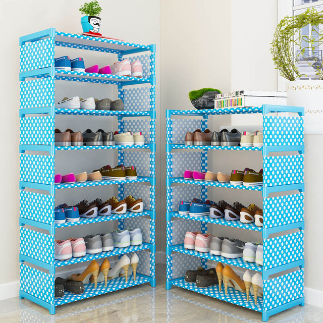 Multi Layer Shoe Rack Nonwovens Steel Pipe Easy to install home Shoe cabinet Shelf Storage Organizer Stand Holder Space Saving 2