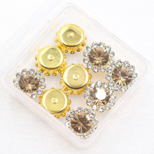 Glitter Sewing Crystal Stone with Claw Sew on Rhinestones 20pcs Gold Base Buttons for DIY Garment Jewelry Hot Sale
