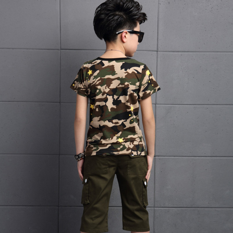 c768a9453 2016 Summer New Big Boys Children's Clothing Sets ( Tee + Pants) Kids  Printed Camouflage T Shirts Army Green Knee Length Capris-in Clothing Sets  from Mother ...