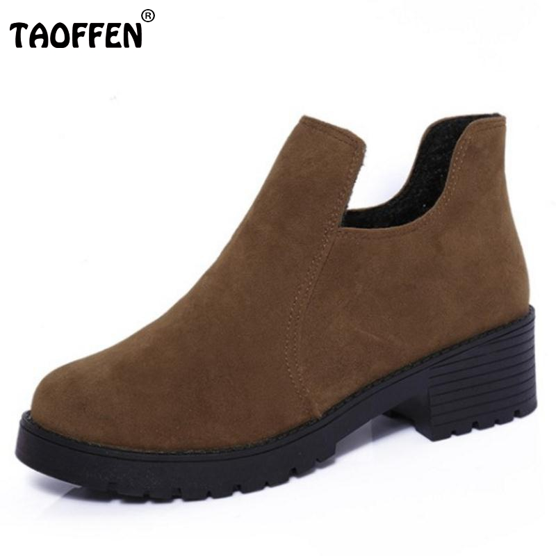 TAOFFEN  Sweety Ladies Winter Snow Boots For Women Thick Fur Candy Color Ankle Botas Female Agrafe Flat Shoes Women Size35-40 2016 rhinestone sheepskin women snow boots with fur flat platform ankle winter boots ladies australia boots bottine femme botas