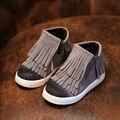 Осень девушки ботильоны дети детская бахрома мода обувь детская обувь мальчиков лакированные одиночные сетчатая ткань свободного покроя обувь