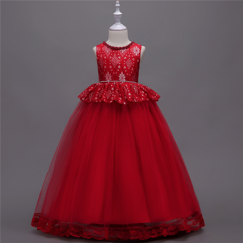 Children Girls Clothes Princess Dress Lace Flowers Ball Gown Formal Toddler Evening Dresses Party Wedding Birthday Girls Dress