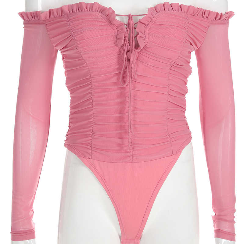 Darlingaga Fashion off shoulder mesh bodysuit women sexy body ruched lace up ruffles hot skinny jumpsuit bodysuits tops catsuit
