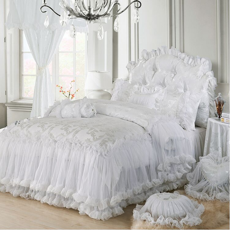 Free shipping pink purple white red korean wedding lace for Bedroom sets without bed