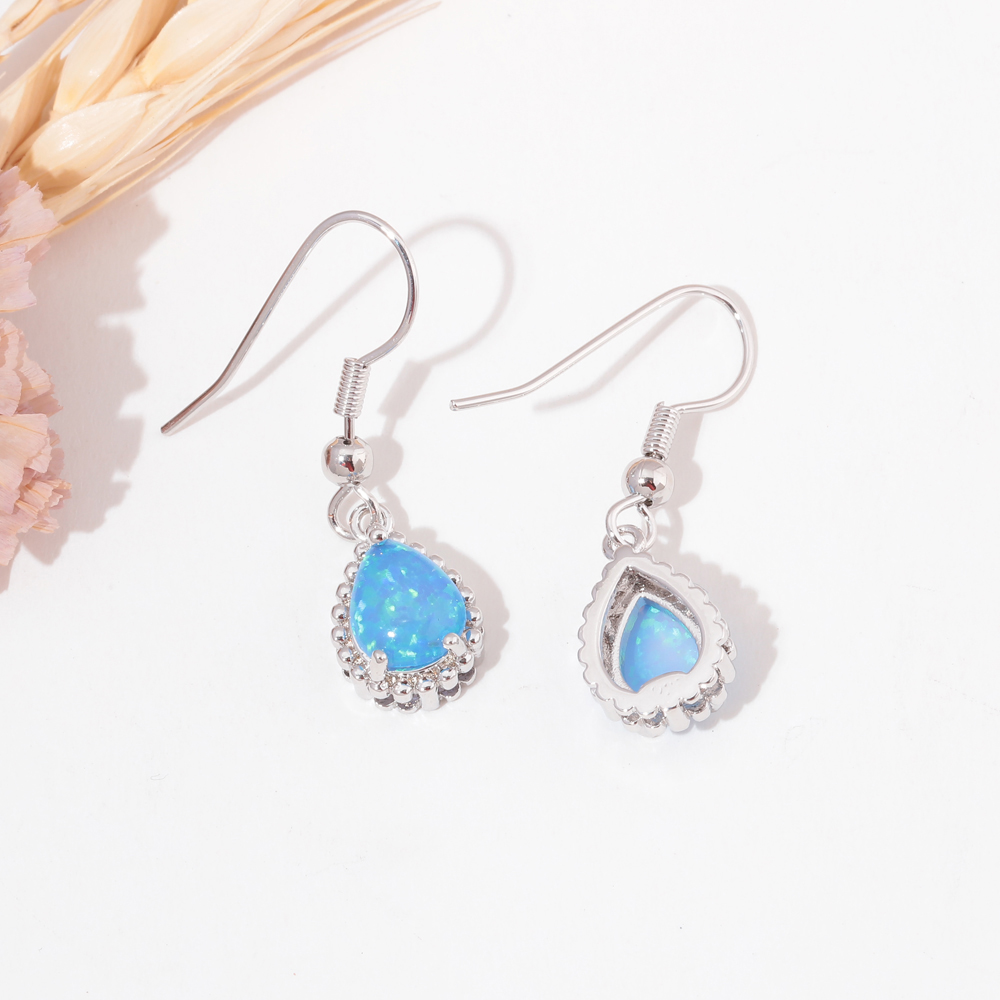 CiNily White & Blue Fire Opal String Of Beads Pendientes Colgantes - Bisutería - foto 4