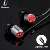 Baseus Wired Earphone For Lightning Earpods In Ear Headset For IPhone X 8 7 6 Plus