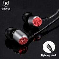Baseus Kablolu Kulaklık Için Kulak Kulaklık Earpods iPhone X 8 7 6 artı Srereo Bas Ses Mic 8 Pin Ile kulakl k kulaklık