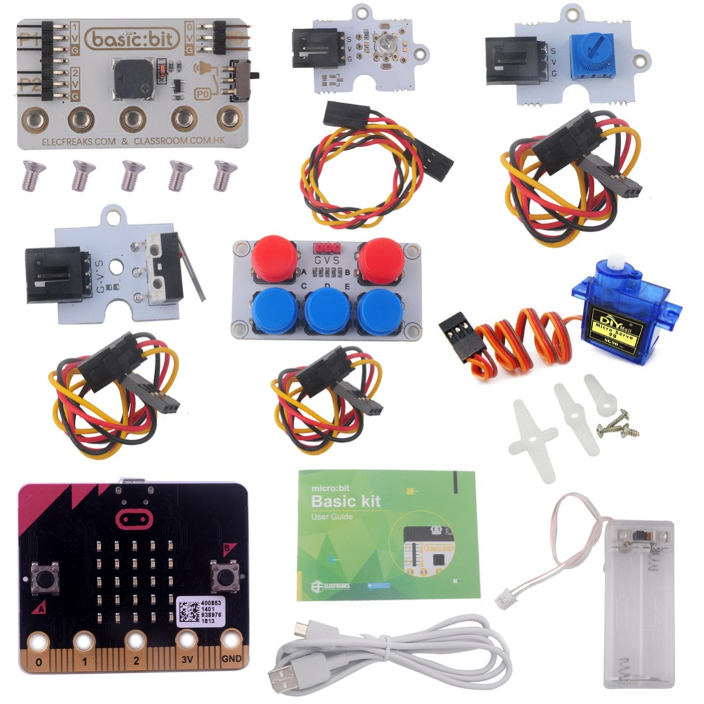 for Microbit Basic Kit Starter Kit with Micro bit Board LED Module Crash Sensor Potentiometer Servo