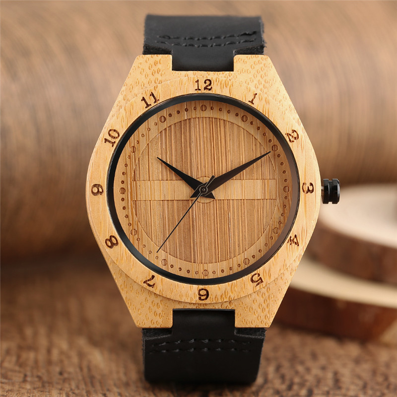 2017 New Arrival Shield Design Cool Round Dial Men's Quartz Wristwatch Genuine Leather Band Hand-made Wooden Bamboo Male Watches new arrival bamboo men wristwatch classic arabic number dial genuine leather band strap trendy gift quartz watch