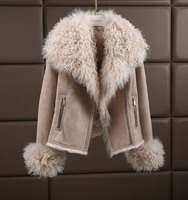 New arrival luxury Europe American Winter Fashion Women Genuine Sheepskin Shearing 100% Wool Liner Coat Female Lady Jacket XXL