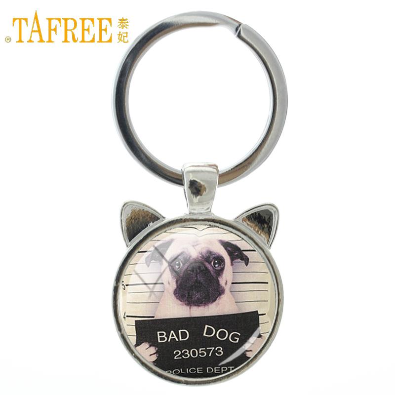 TAFREE Cute Dog keychain vintage glass cabochon Pug photo animal pendant key chain for women men gift New fashion jewelry A249 цены онлайн