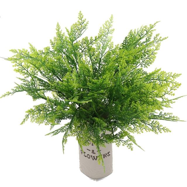 2018 Nova 5-garfo Grama Verde Artificial Plantas De Flores De Plástico Doméstico Loja Dest Decoração Rústica Mesa Planta Trevo deco