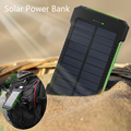 Waterproof 10000mAh Solar Power Bank Solar Charger with LED Light Dual USB PowerBank for iPhone Samsung Tablet With Compass SOS