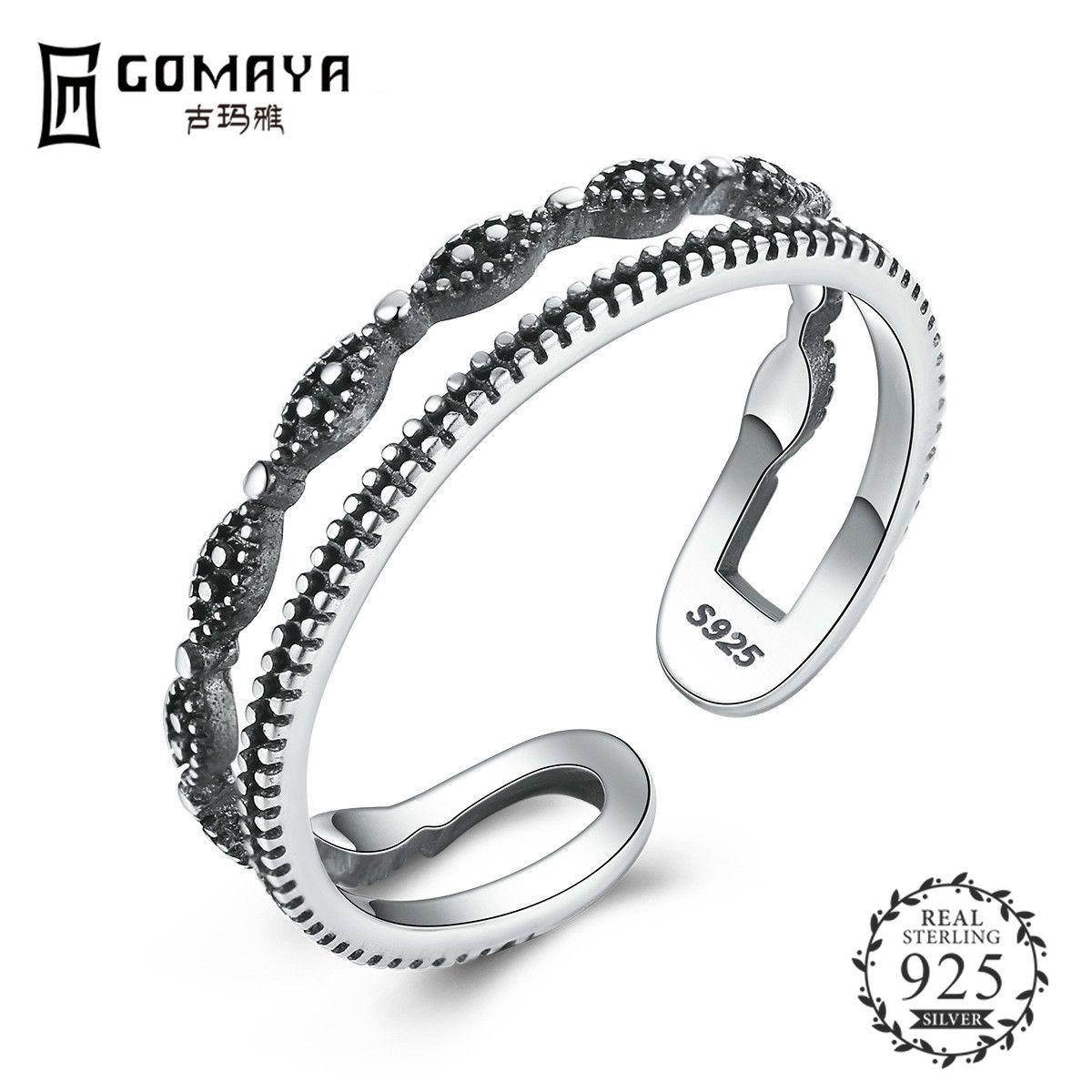 GOMAYA Authentic 925 Sterling Silver Fashion Double Layer Open Size Finger Rings for Women Jewelry in Rings from Jewelry Accessories