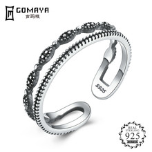 GOMAYA Authentic 925 Sterling Silver Fashion Double Layer Open Size Finger Rings for Women   Jewelry цена