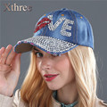 Xthree cheap baseball cap good quality rhinestone cap love letter snapback hats for men and women