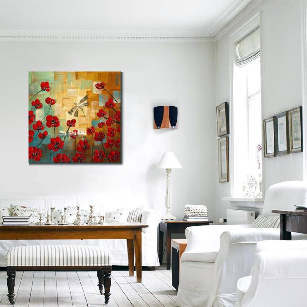 Håndmalte knivblomster Oljemalerier Abstrakt Dragonfly-maleri på - Hjemmedekorasjon - Bilde 4