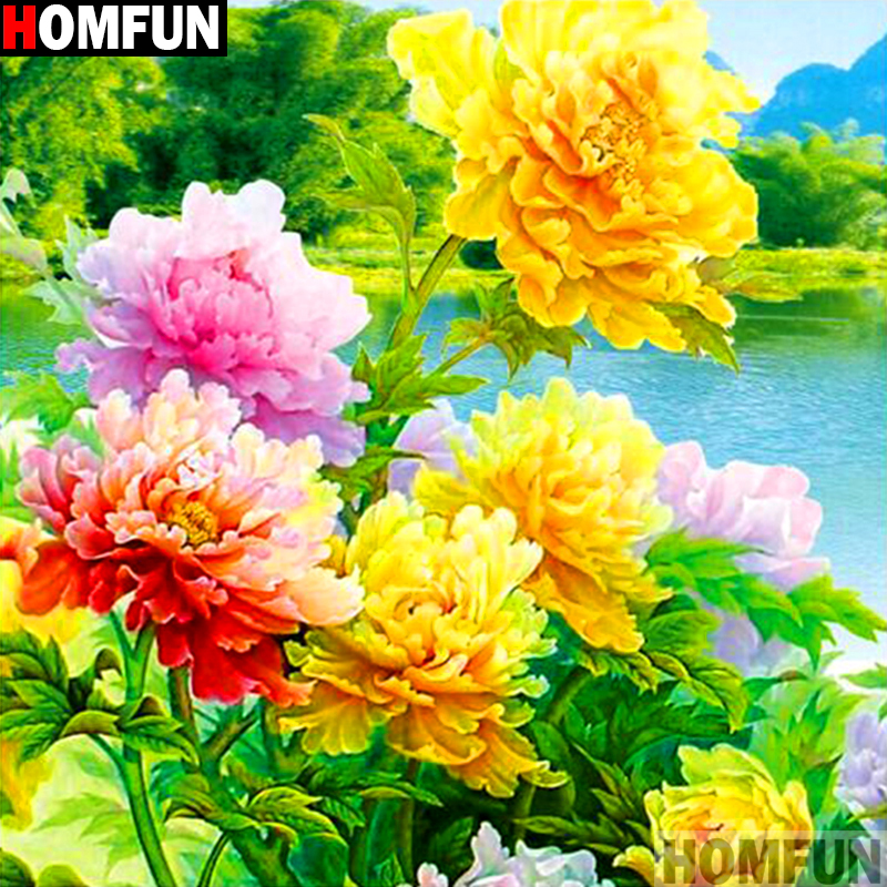HOMFUN Full Square Round Drill 5D DIY Diamond Painting quot Yellow flower quot 3D Embroidery Cross Stitch 5D Decor Gift A14388 in Diamond Painting Cross Stitch from Home amp Garden
