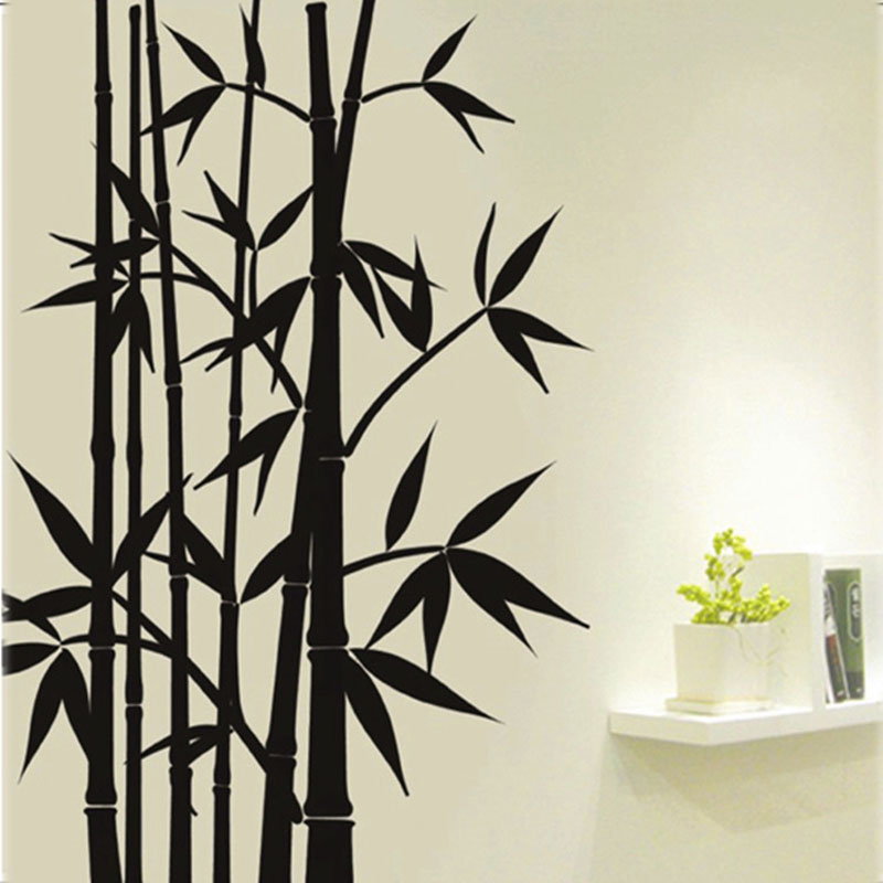 Free shipping large Removable Living room bedroom TV backdrop Black Bamboo Mural Wall Stickers Craft Art Decals Home Decoration