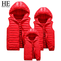 HE Hello Enjoy Family Matching Outfits 2016 down coat winter mother and daughter clothes Vest Thicken Solid Removable Hoody