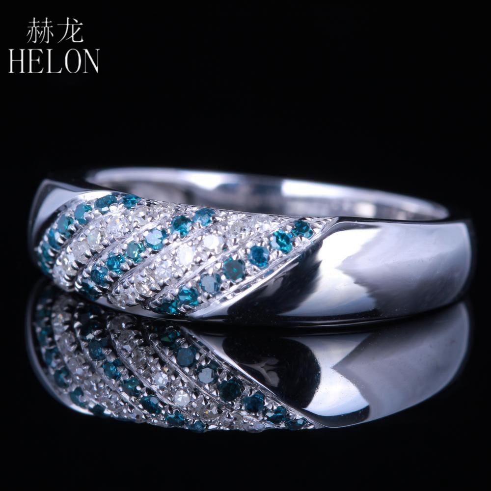 HELON Genuine Natural Diamonds Blue Diamonds Ring 925 Sterling Silver Two Color Diamonds Wedding Engagement Fine