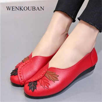 2019 Women Ballet Flats Slip on Loafers Summer Moccasins Female Genuine Leather Shoes Red Casual Ladies Shoes Zapatos De Mujer - DISCOUNT ITEM  14% OFF All Category