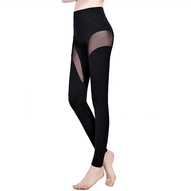 2016 New Fashion Black S-XL Sporting Leggings For Women Net Yarn Patchwork Leggins Adventure Time Solid Mid Waist Slim Leggings