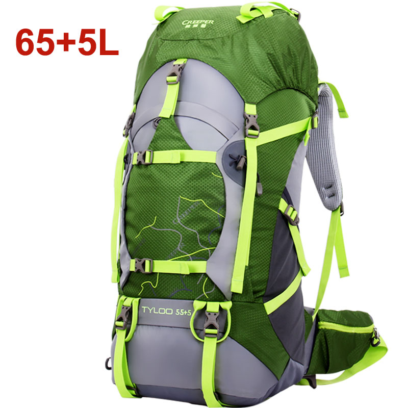Hiking Bagpack 65+5L, Outdoor Sport Bag, Waterproof Outdoor mochila for Camping and Hiking 65+5 L ,with rain cover 70l professional outdoor sport bag mochila waterproof outdoor hiking bagpack with rain cover 80 27 38cm