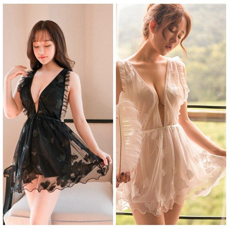 Sexy Women Embroidered Nightdress mesh lace beautiful sling Sleepwear Women Exotic Sets