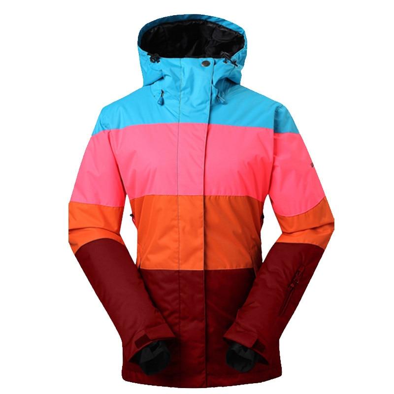 Prix pour Femmes D'hiver de Neige Manteaux Patchwork Style Dames Snowboard Veste Chaleur Épaissir Imperméable Vêtements de Ski 2017 Professionnel Ski Vestes