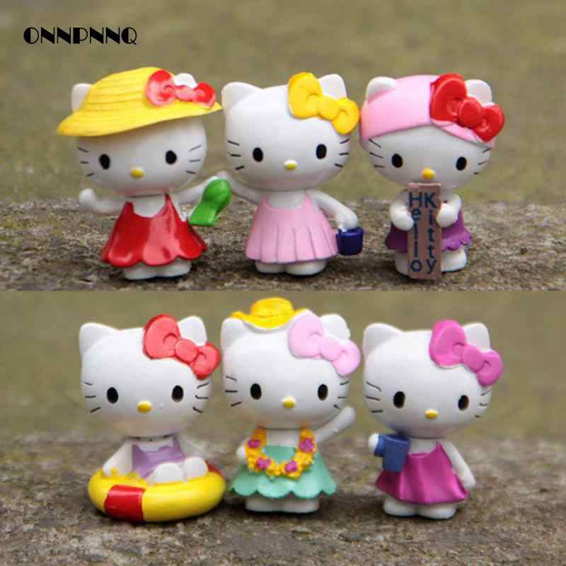 6pcs/set Hello Kitty Cat Set Miniatures Doll Kids Gift Toys Fairy Garden Handicraft Decoration Bonsai Figurine Garden Decoration