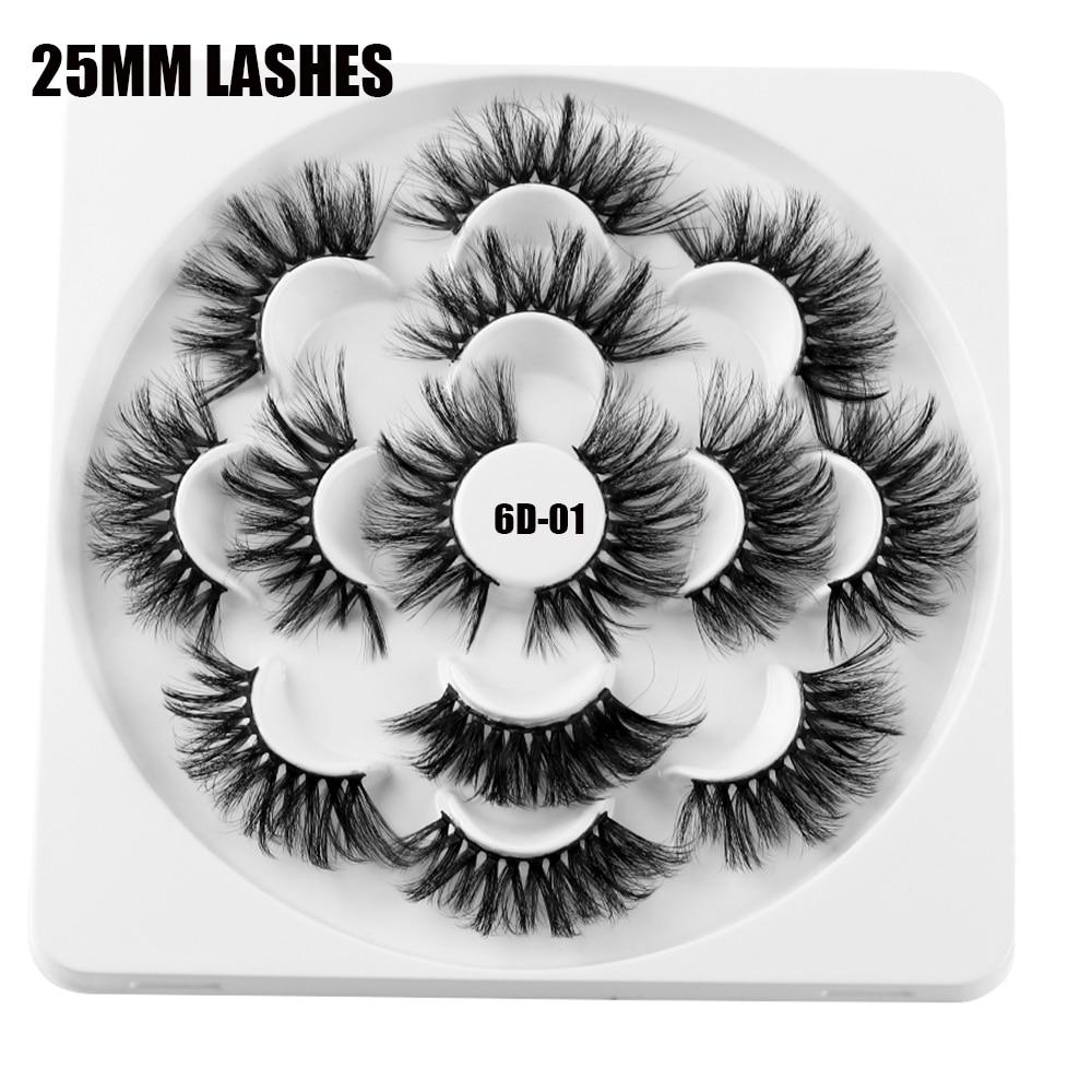 28aab411e1a 7 Pairs 6D Mink Hair False Eyelashes 25mm Long Lashes Extension Thick Wispy  Fluffy Handmade Eye