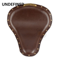 Universal Motorcycle Accessories Brown Leather Slim Large Copper Rivet SOLO Seat Cafe Racer For Kawasaki Yamaha UNDEFINED