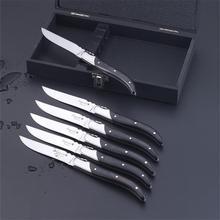 6 шт. стиль Laguiole нож для стейка черные деревянные ручки кухонные ножи из нержавеющей стали столовые приборы для ресторана Свадебная вечеринка столовые приборы подарок