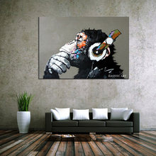 Ready To Hang Hand-painted High Quality Modern Art Gorilla Oil Painting on Canvas Abstract Funny Animal Monkey Oil Painting national geographic readers hang on monkey