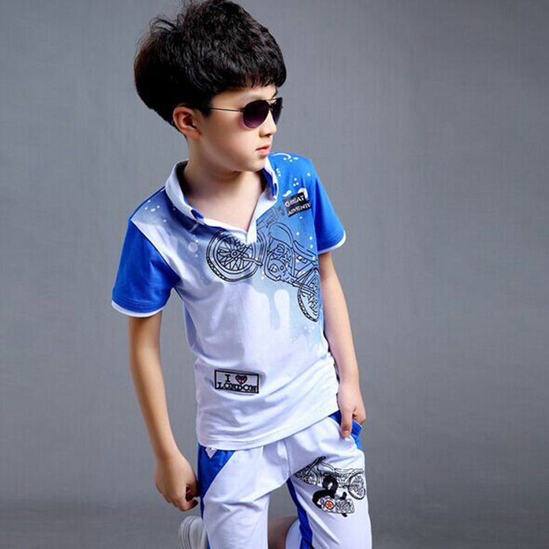 99451af8b 2016 Big Boys Children's Clothing Sets ( T Shirts + Pants ) Kids Motorcycle  Short sleeved T Shirt Polo Shirts Calf Length Capris-in Clothing Sets from  ...