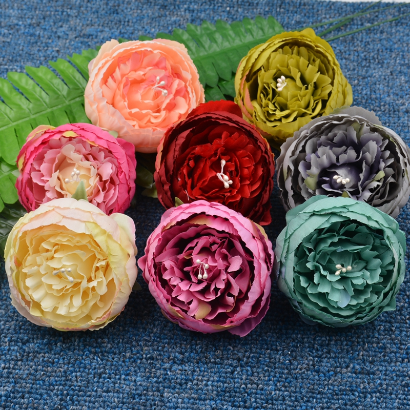 Wholesale 20Pcs 17Colors 9cm Peony Artificial Flower For Wedding Party Home Decoration Marriage Accessories Simulation Flowers