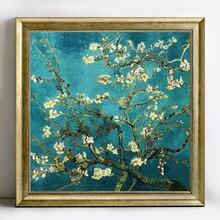 Pintura de diamante 5D artesanal, punto de cruz, Van Gogh, flor de almendro, bordado de diamantes, diamantes de imitación redondos, mosaico de resina