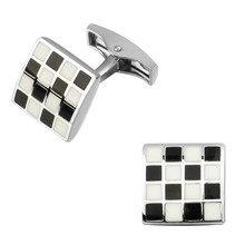 High quality fashion men's shirts Cufflinks White Enamel Cufflinks square checkered brass wholesale and retail