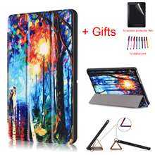 """Print Case for HUAWEI MediaPad T3 10 AGS-L09 AGS-L03 9.6"""" Tablet,PU Leather Magnet Protective Stand Funda Cover +Film+Pen"""