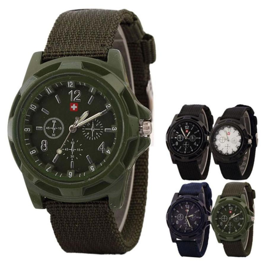 Solider Military Army Green Dial Army Sport Style Quartz Wrist Watch Leather Sports Watches Men's Army Military Watch Man xfcs(China)